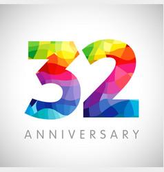 32 anniversary color logo vector