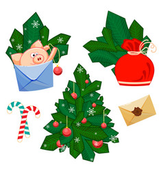 a pig with develop bag fir branches christmas vector image