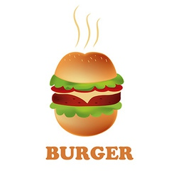 A round and delicious hamburger in a white vector