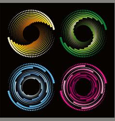 abstract circular dots colorful halftone disco vector image
