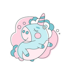 Adorable unicorn sleeping on cloud line icon with vector