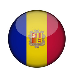 andorra flag in glossy round button of icon vector image