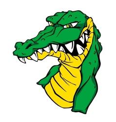 Angry green crocodile vector image