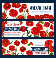 anzac day 25 april poppy greeting banners vector image