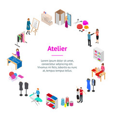 atelier studio concept banner card circle 3d vector image
