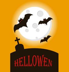 bats flying on full moon happy halloween vector image