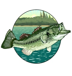 Big mouth bass vector