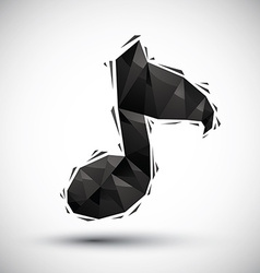 Black musical note geometric icon made in 3d vector
