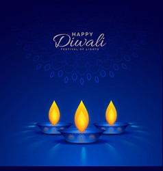 Burning diya on blue background for happy diwali vector