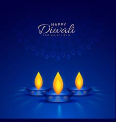 burning diya on blue background for happy diwali vector image