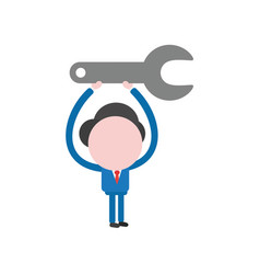 Businessman character holding up spanner vector