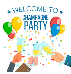Champagnes office party champagne bottle vector