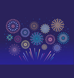 colorful fireworks celebration fire firework vector image