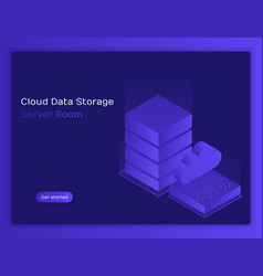 concept cloud data storage and server room vector image