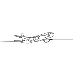 continuous one line airplane isolated on white vector image