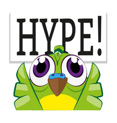 Cute budgie bird with wings in air - hype emote vector