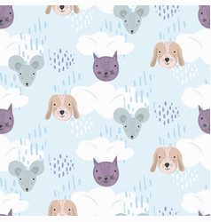 cute cartoon pattern with cats dogs and mice vector image
