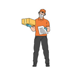 Delivery man in medical mask holding parcel box vector