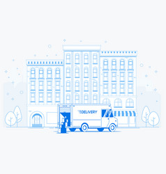 delivery truck on street delivery to door vector image