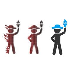 Dispersed pixel halftone gentleman with freedom vector