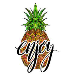 doodle colorful pineapple with boho pattern and vector image