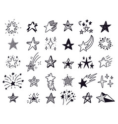 doodle stars hand drawn sketch stars starry vector image