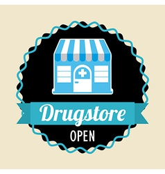 Drugstore over pink background vector