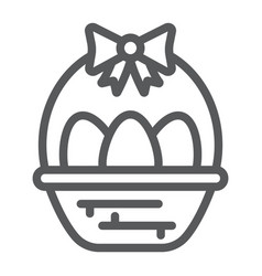 easter eggs in basket line icon decoration and vector image