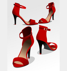 fashion woman red shoes vector image