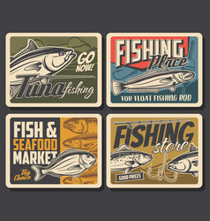 fishing posters fish and fisherman rod for tuna vector image
