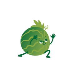 flat watermelon doing stretching or yoga vector image