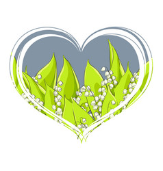 fragrant lily of the valley in the heart on a vector image
