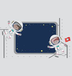 Frame template design with astronauts vector