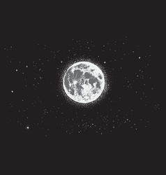 Full moon at night time vector