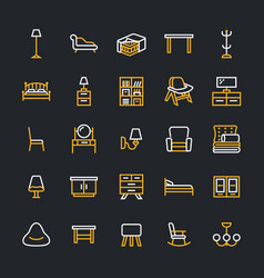 Furniture flat line icons living room tv vector