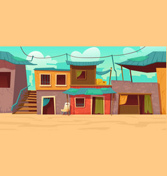 Ghetto street with poor dirty houses shacks vector