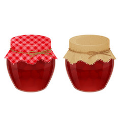 Glass jars with tasty strawberry jam realistic vector