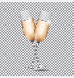 Glass of champagne on transparent background vector