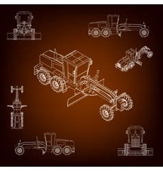 Grader road scraper construction machinery vector