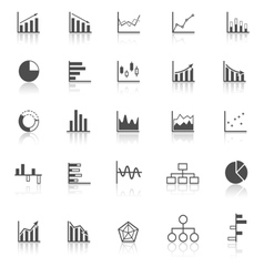 graph icons with reflect on white background vector image