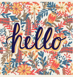 greeting card with modern calligraphy hello vector image