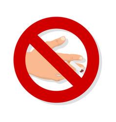 hand cigarette no smoking sign vector image