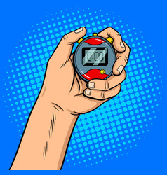 hand with stopwatch pop art vector image