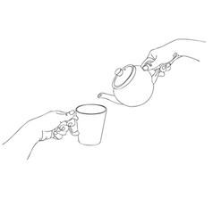 hands pour tea vector image