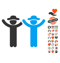 Hands up gentlemen icon with lovely bonus vector