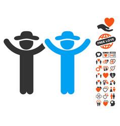 hands up gentlemen icon with lovely bonus vector image