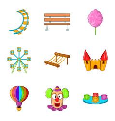 hippodrome icons set cartoon style vector image