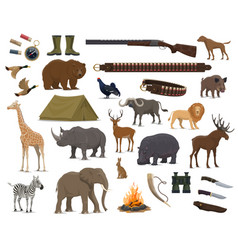 hunting sport weapon wild animals and bird icons vector image