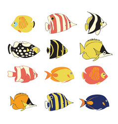 Icon set tropical reef fishes isolated vector