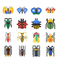 Insects geometric icons set vector